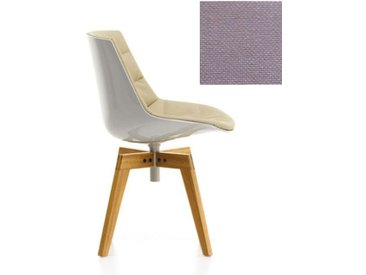 MDF ITALIA chaise rembourrée avec pieds en chêne FLOW CHAIR (Blanc / 242 - Polycarbonate / Cat. B tissu Gin)
