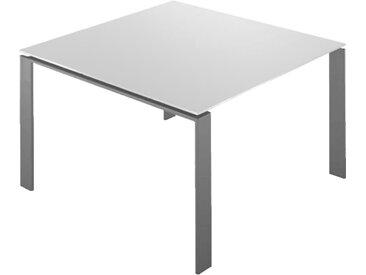 KARTELL table FOUR 128x128xH72 cm (Plateau blanc - Pieds aluminium - Plateau en laminé anti-rayures et pieds en acier verni)