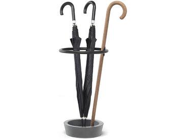 MOGG set de 3 porte-parapluie RENE' (base gris laqué, canne bois naturel - Hêtre)