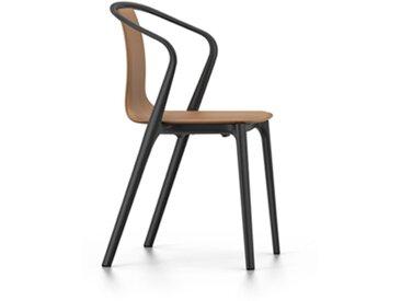 VITRA chaise avec accoudoirs BELLEVILLE ARMCHAIR LEATHER (Cognac - Coque en cuir Premium rembourrée et polyamide moulé par injection)