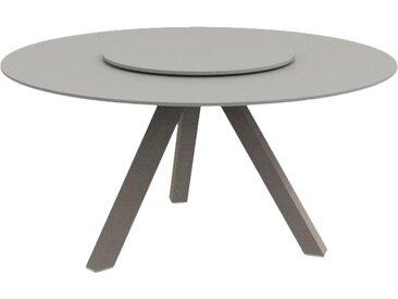 TALENTI table ronde d'extérieur CIRCLE Collection PiùTrentanove (Dove - Aluminium peint et verre trempé opaque sérigraphié)