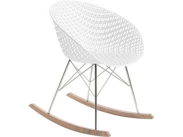 KARTELL chaise à bascule SMATRIK (Blanc - polycarbonate coloré dans la masse, bois teinté chêne et acier chromé)