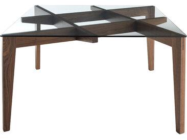 HORM table AUTOREGGENTE 140x140 cm (Noyer foncé - bois et verre)