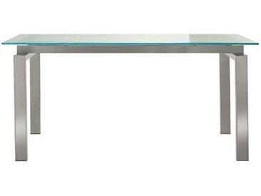 PEDRALI Table TS-SPACE (Plateau satiné W 200 cm - Acier Inox / Verre)