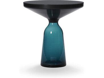 CLASSICON table BELL SIDE TABLE (bleu Montana - Structure en métal noir, plateau en Cristal noir et base en verre soufflé)
