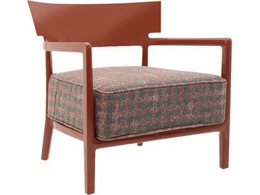 KARTELL fauteuil CARA FANCY (Rouille / Rouille-Beige - polycarbonate coloré dans la masse et tissu fantasia)