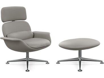 KNOLL fauteuil pivotant KN02 avec ottoman KN03 en cuir avec dossier haut inclinable (Volo Flint - Revêtement Cat. X et structure en aluminium [...]