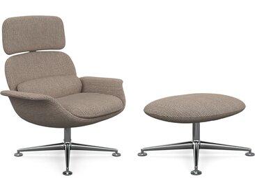 KNOLL fauteuil pivotant KN02 avec ottoman KN03 en tissu avec dossier haut inclinable (Cato Sand - Revêtement Cat. B et structure en aluminium [...]