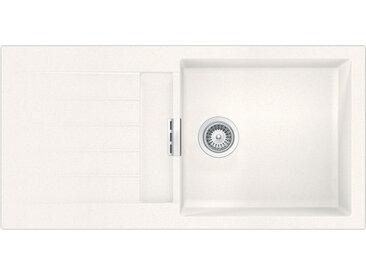 SCHOCK évier avec grand bac et égouttoir réversible SIGNUS D100 L (Blanc pure - Cristadur® Extreme)
