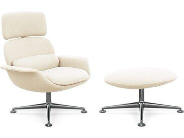 KNOLL fauteuil pivotant KN02 avec ottoman KN03 en tissu avec dossier haut inclinable (Cato Natural - Revêtement Cat. B et structure en aluminium [...]