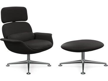 KNOLL fauteuil pivotant KN02 avec ottoman KN03 en cuir avec dossier haut inclinable (Volo Black - Revêtement Cat. W et structure en aluminium [...]