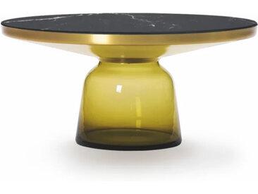 CLASSICON table BELL COFFEE TABLE (jaune topaze - Structure en laiton, plateau en Marbre noir Marquina et base en verre soufflé)