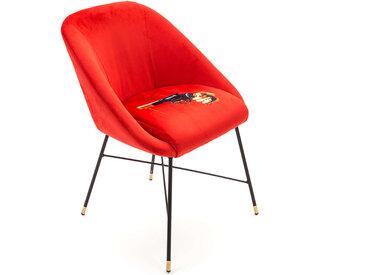 SELETTI chaise rembourrée TOILETPAPER PADDED CHAIR (Revolver - Tissu en polyester, Structure en bois, polyuréthane et métal)