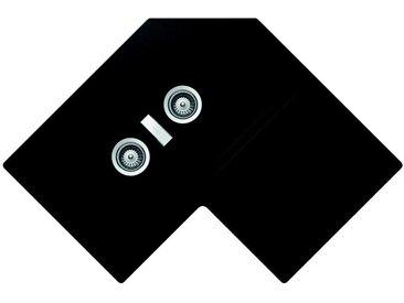 SCHOCK évier d'angle avec 2 bacs à gauche et égouttoir PRIMUS C200 (Noir pur - Cristalite®)