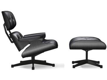 VITRA fauteuil base et cuir noirs EAMES LOUNGE CHAIR & OTTOMAN dimensions classiques (Base noire, structure en frêne laqué noir, Cuir noir - [...]