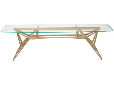 ZANOTTA table avec étage en verre REALE CM (90x220 cm - Chêne naturel, cristal extra-clair)