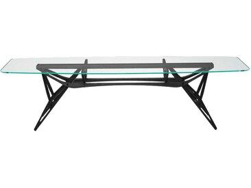 ZANOTTA table avec étage en verre REALE CM (100x250 cm - Chêne teinté noir, cristal extra-clair)