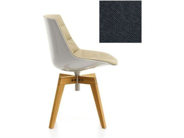 MDF ITALIA chaise rembourrée avec pieds en chêne FLOW CHAIR (Blanc / 182 - Polycarbonate / Cat. B tissu Gin)
