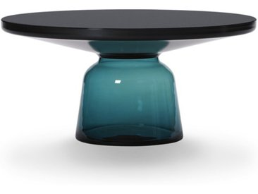 CLASSICON table BELL COFFEE TABLE (bleu Montana - Structure en métal noir, plateau en Cristal noir et base en verre soufflé)