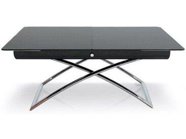 CONNUBIA table pliante MAGIC-J (Verre trempé sérigraphié noir - bois/verre/Métal chromé)
