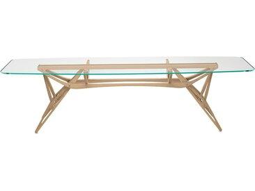 ZANOTTA table avec étage en verre REALE CM (100x280 cm - Chêne naturel, cristal extra-clair)