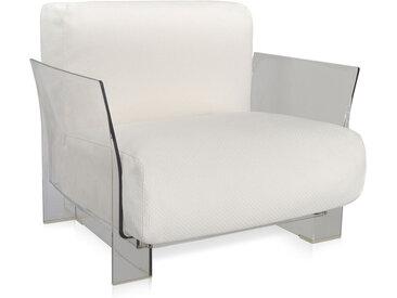 KARTELL fauteuil pour extérieur POP OUTDOOR (Blanc - Polycarbonate transparent et tissu Ikon)