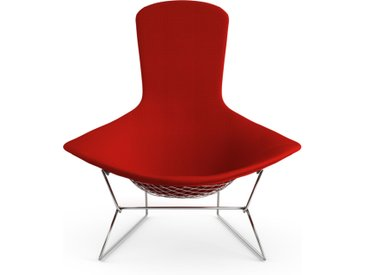 KNOLL fauteuil relax entièrement rembourrée BERTOIA (Structure chromée / Revêtement Fire Red - Acier / Tissu Cato)