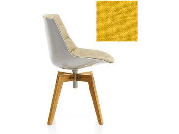 MDF ITALIA chaise rembourrée avec pieds en chêne FLOW CHAIR (Blanc / 442 - Polycarbonate / Cat. B tissu Gin)