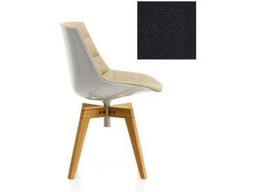 MDF ITALIA chaise rembourrée avec pieds en chêne FLOW CHAIR (Blanc / 392 - Polycarbonate / Cat. B tissu Gin)