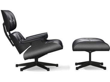 VITRA fauteuil base et cuir noirs EAMES LOUNGE CHAIR & OTTOMAN nouvelles dimensions (Base noire, structure en frêne laqué noir, Cuir noir - [...]