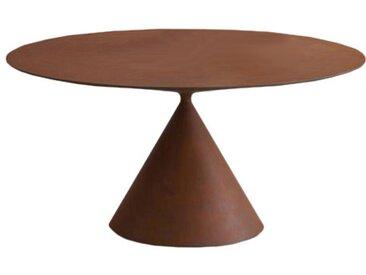 DESALTO table oval CLAY (110x160 cm / Metal Rusty - Base en polyuréthane / Plateau MDF avec revêtement)