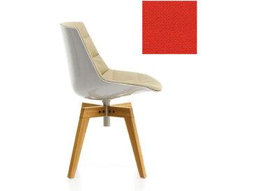 MDF ITALIA chaise rembourrée avec pieds en chêne FLOW CHAIR (Blanc / 562 - Polycarbonate / Cat. B tissu Gin)