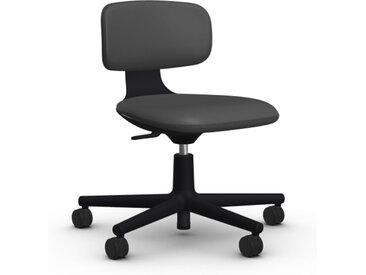 VITRA chaise de bureau à roulettes ROOKIE (Cuir - Cuir Cat. L20 et base deep black)