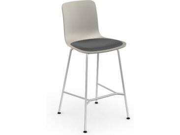 VITRA tabouret avec assise rembourrée HAL STOOL MEDIUM (Warm Grey, coussin Dark Grey, pieds noirs - acier chromé, polypropylène et tissu Hopsak)