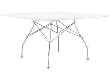 KARTELL table carrée GLOSSY 130 x 130 cm (Blanc - MDF laqué en polyester et acier chromé)