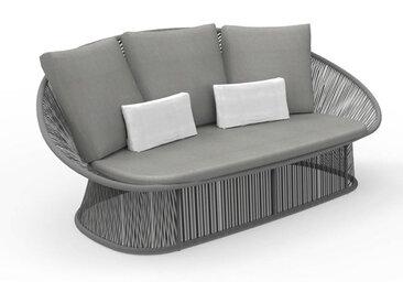 TALENTI canapé à 2 places d'extérieur ROPE Collection PiùTrentanove (Grey - Aluminium verni et tissu)