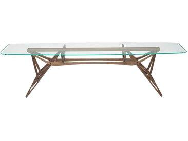ZANOTTA table avec étage en verre REALE CM (100x280 cm - Noyer Canaletto, cristal extra-clair)