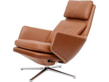 VITRA fauteuil pivotant GRAND RELAX (H 432 mm - Cuir Premium, base en aluminium brillant)
