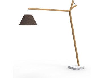 TALENTI lampadaire d'extérieur CLEO TEAK Collection Icon (Bronze mélange - Teck naturel, tissu et marbre de Carrara)