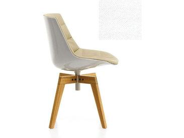 MDF ITALIA chaise rembourrée avec pieds en chêne FLOW CHAIR (Blanc / 102 - Polycarbonate / Cat. B tissu Gin)