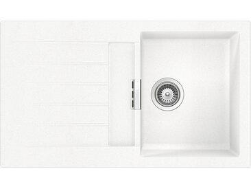 SCHOCK évier avec bac et égouttoir réversible SIGNUS D100 (Blanc pure - Cristadur® Extreme)