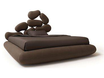 NOCTIS lit deux places STONES BOX avec bois de lit 160x200 cm (Couleur 57 - Tissu Tobago)