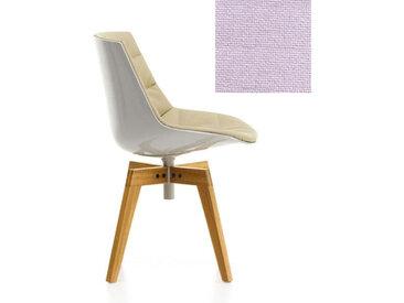 MDF ITALIA chaise rembourrée avec pieds en chêne FLOW CHAIR (Blanc / 602 - Polycarbonate / Cat. B tissu Gin)