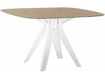 KARTELL table SIR GIO avec plateau carré (Bronze - Base en technoploymère et plateau en cristal stratifié)