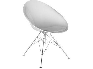 KARTELL fauteuil EROS (Blanc brillant - base avec pieds - Polycarbonate coloré dans la masse)