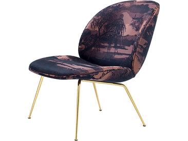 GUBI fauteuil BEETLE LOUNGE CHAIR CONIC BASE (À Contre-Jour Rosa Tramonto base ottone - tissu Dedar)