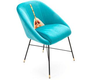 SELETTI chaise rembourrée TOILETPAPER PADDED CHAIR (Drill - Tissu en polyester, Structure en bois, polyuréthane et métal)