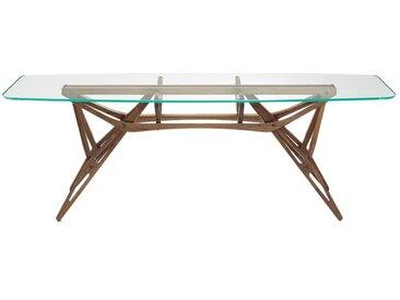 ZANOTTA table avec étage en verre REALE CM (90x220 cm - Noyer Canaletto, cristal extra-clair)