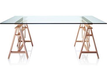 MAGIS table TEATRO 200 x 90 cm (Cristal Trempé - cristal / Hêtre massif)