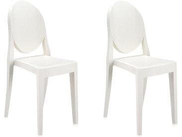 KARTELL set de 2 chaises VICTORIA GHOST (Blanc brillant - Polycarbonate coloré dans la masse)